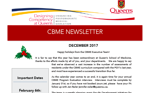 CBME Newsletter Dec 2017