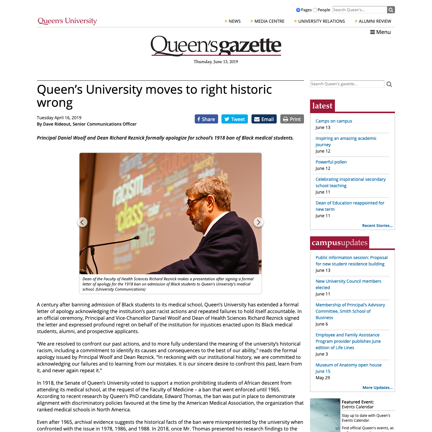 Queen's University moves to right historic wrong