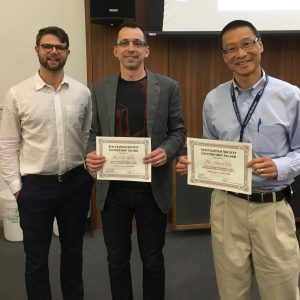 (From left to right): Gray Moonen (First-year President), Dr.'s Filip Gilic and David Lee – Term 1 and 2A award winners