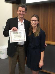 Dr. David Holland, award winner for Term 3 and Monica Mullin, Second-year President. Dr. Robyn Houlden was not available to attend.