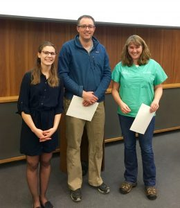(from left to right): Monica Mullin (Second-year President), Dr.'s Alex Menard and Heather Murray – Term 4A award winners.