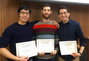 (from left to right): Peter Wang, Henry Ajzenberg, and Wei Sim – winners of the AS Awards of Merit. Adam Mosa was not able to attend. Graduating recipients will receive their awards at convocation on May 19, 2016.