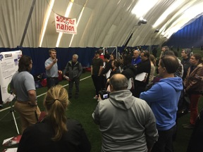 Chris Griffiths and Jesse Topley presenting at Super Elite Football Camps in Aurora, ON