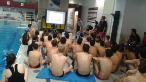 Logan Seaman presenting to Ottawa Titans Water Polo Club in Ottawa, ON