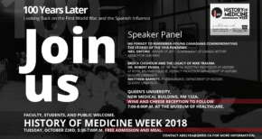 History of Medicine Week: 100 years later…  Looking Back on the First World War and the Spanish Influenza  October 22-26th
